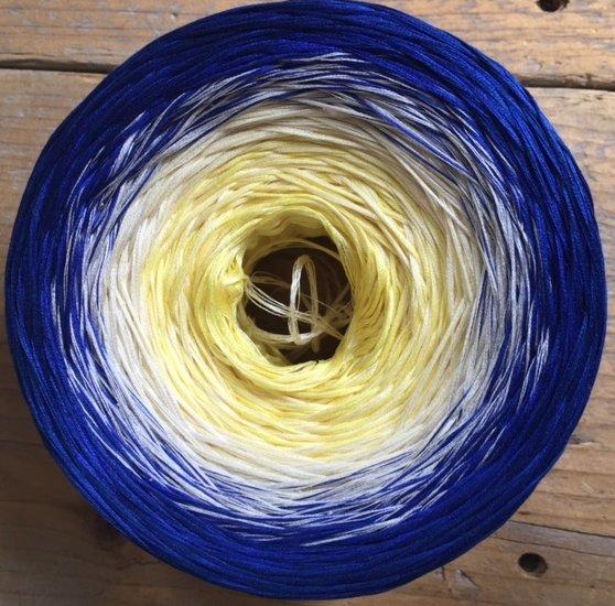 Wolcafe Verloopgaren Kobaltblauw-geel 60