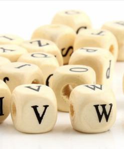 Naturel blank houten spacer alfabet kralen