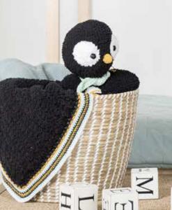 Garenpakket Woolytoons Knuffeldeken Pedro de pinguïn met gratis vulling!