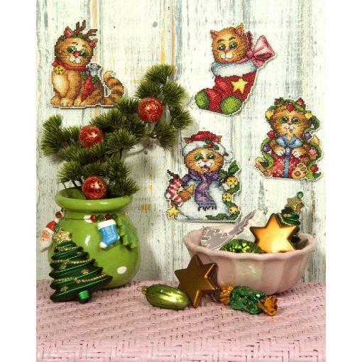 Kerst borduurpakket Christmas Cats