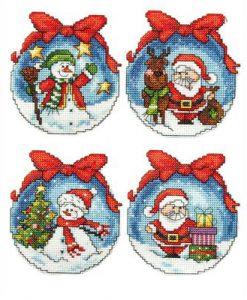 Kerst borduurpakket Christmas Bulbs