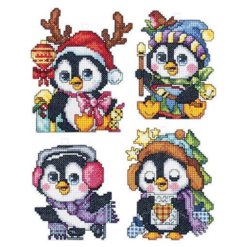 Kerst borduurpakket Christmas Penguins