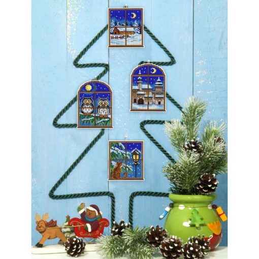 Kerst borduurpakket Christmas Windows